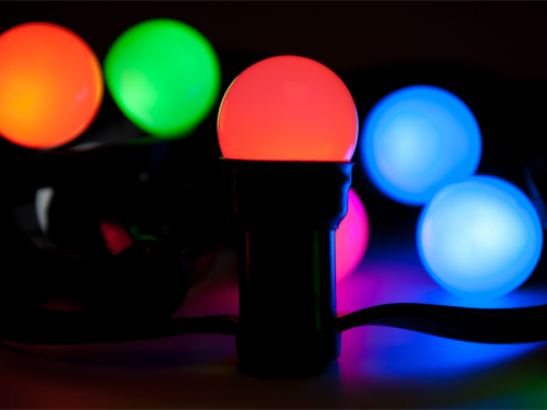 led partyset lichterkette mit 10 fassungen inkl bunten led leuchtmittel. Black Bedroom Furniture Sets. Home Design Ideas