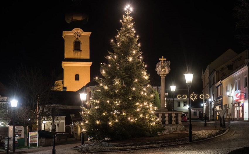 Weihnachtsbeleuchtung-Nadelbäume